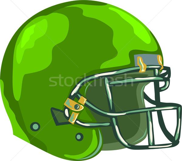 Amerikai futball sisak zöld stílus illusztráció Stock fotó © patrimonio
