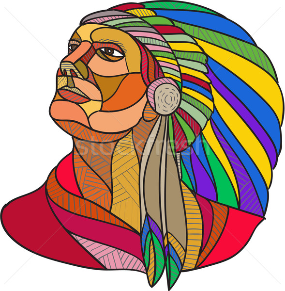Native American Indian Chief Headdress Drawing Stock photo © patrimonio