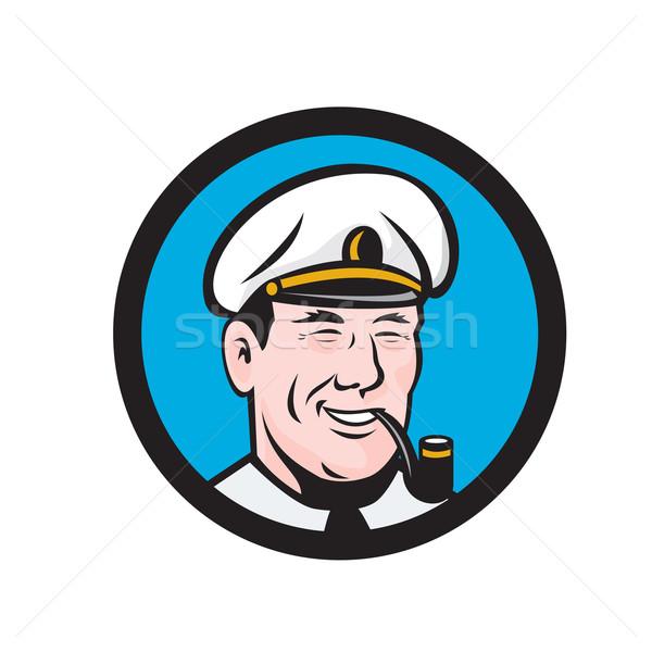 Smiling Sea Captain Smoking Pipe Circle Retro Stock photo © patrimonio