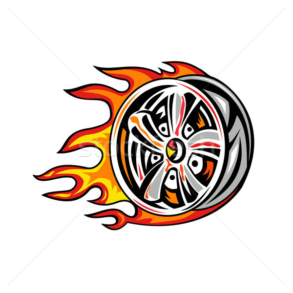 燃えるような ホイール リム 火災 実例 サイド ストックフォト © patrimonio