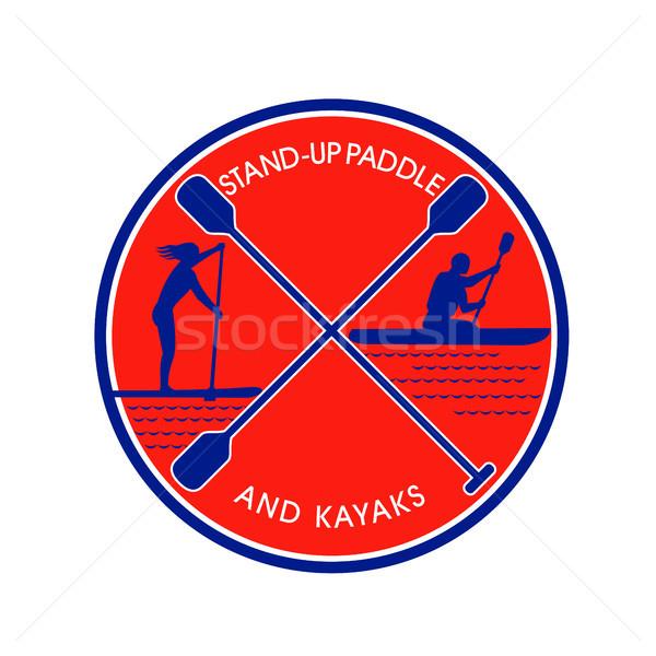 Stand-up Paddle and Kayak Circle Retro Stock photo © patrimonio