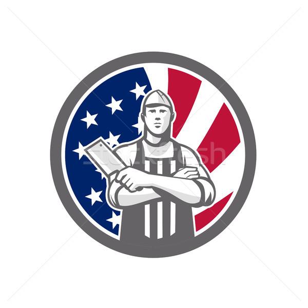 American Butcher Front USA Flag Icon Stock photo © patrimonio