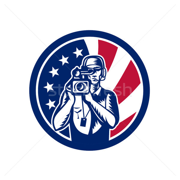 American Cameraman USA Flag Icon Stock photo © patrimonio