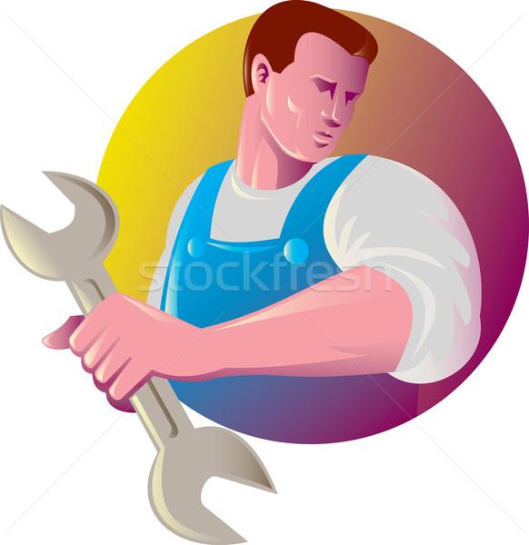 Mechanik handlowiec pracownika klucz ilustracja Zdjęcia stock © patrimonio