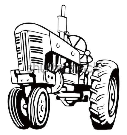 Traktor gépi kotrógép retro illusztráció építkezés Stock fotó © patrimonio