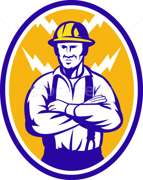 Electrician Construction Worker Lightning Bolt Stock photo © patrimonio