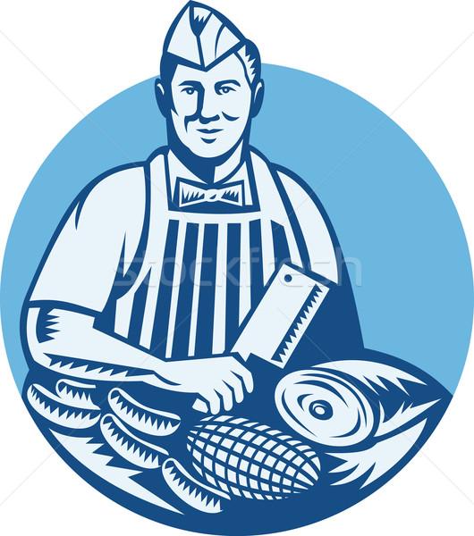 Butcher With Meat Cleaver Meat Cuts Retro  Stock photo © patrimonio