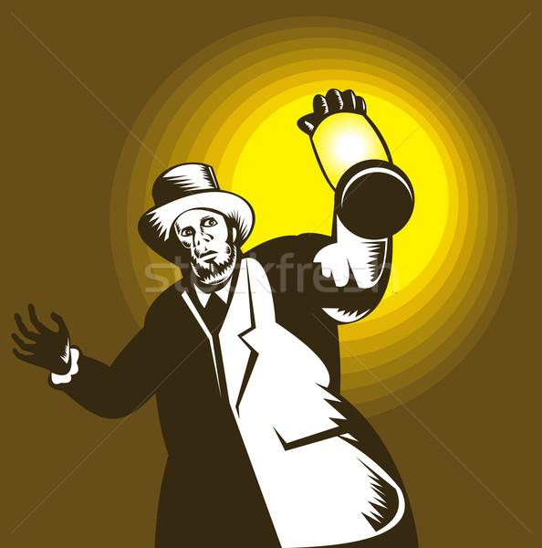 Man Wearing Top hat And Holding Lantern Stock photo © patrimonio