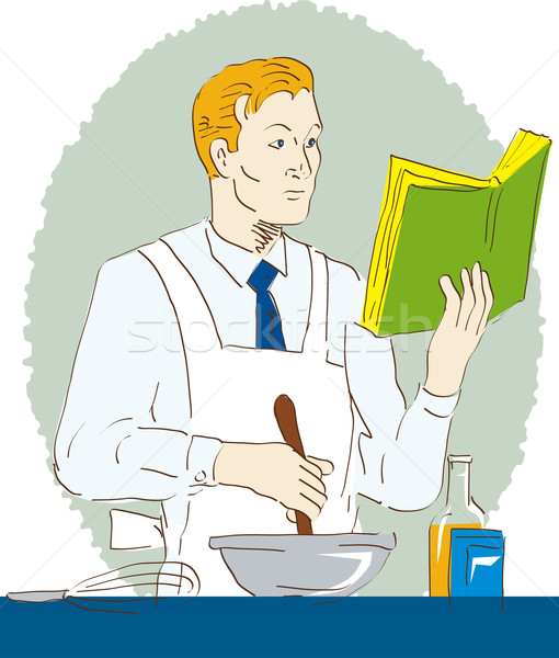 Kucharz gotować piekarz puchar przepis Zdjęcia stock © patrimonio
