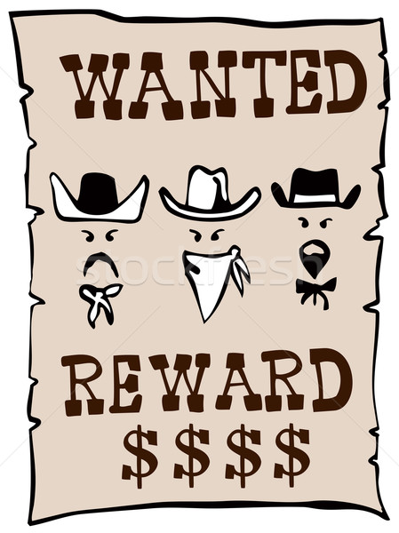 Stok fotoğraf: Aranan · ödüllendirmek · poster · örnek · kovboy · retro · tarzı