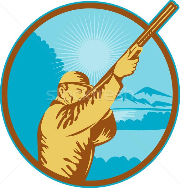 Jager geweer bergen illustratie retro-stijl man Stockfoto © patrimonio