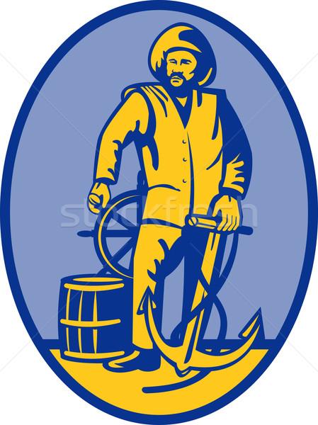 Fisherman ship captain at the wheel Stock photo © patrimonio