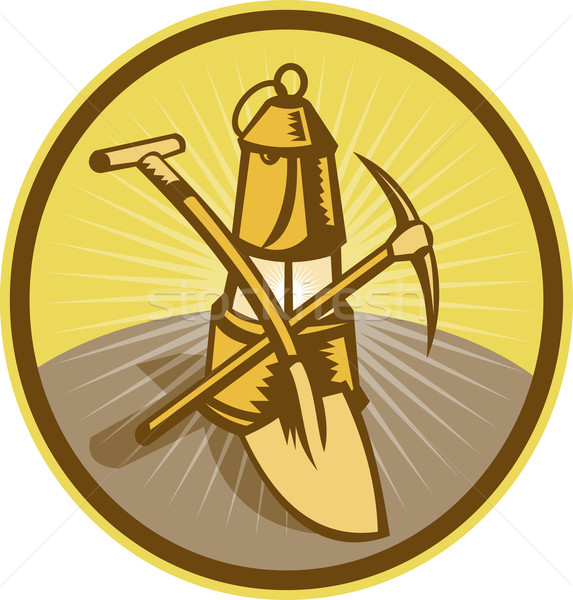 Mining or miner's lamp with shovel and pick axe Stock photo © patrimonio