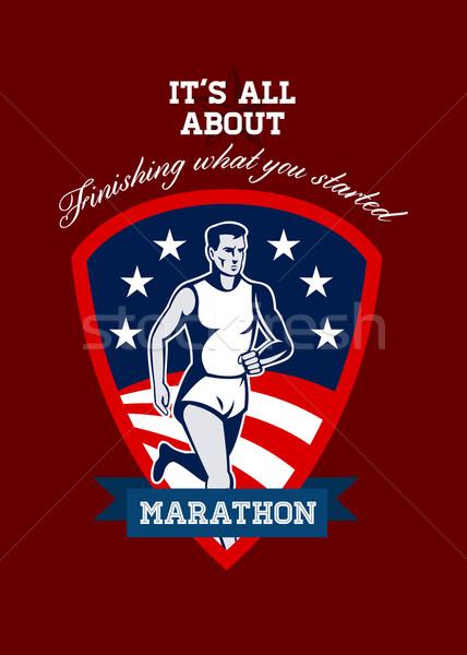 Marathon Runner Finish What You Start Poster Stock photo © patrimonio