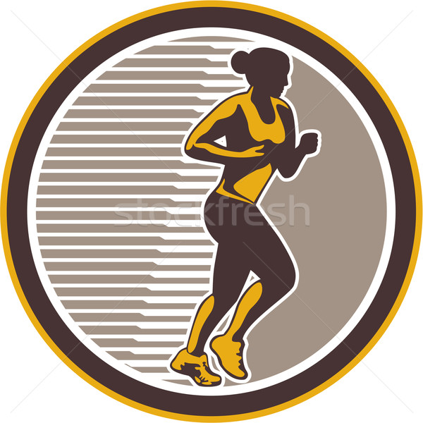 Stock photo: Female Marathon Runner Side View Retro