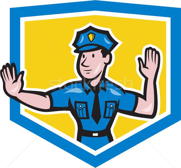 Traffic Policeman Stop Hand Signal Shield Cartoon Stock photo © patrimonio