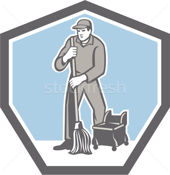 Cleaner Janitor Mopping Floor Retro Shield Stock photo © patrimonio