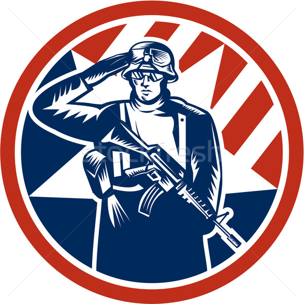 Amerikaanse soldaat geweer retro illustratie Stockfoto © patrimonio