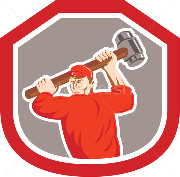 Union Worker Striking Smashhammer Shield Retro Stock photo © patrimonio