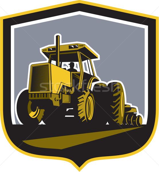 Farmer Driving Vintage Farm Tractor Plowing Retro Stock photo © patrimonio