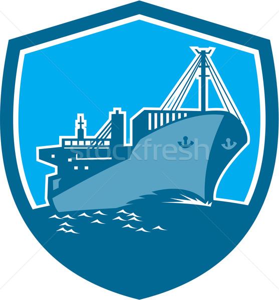 Navio porta-contentores carga barco escudo retro ilustração Foto stock © patrimonio