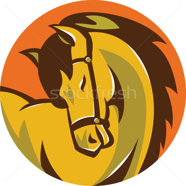 Horse Stallion Head Circle Retro Stock photo © patrimonio