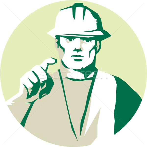 Builder Construction Worker Pointing Finger Stencil Stock photo © patrimonio