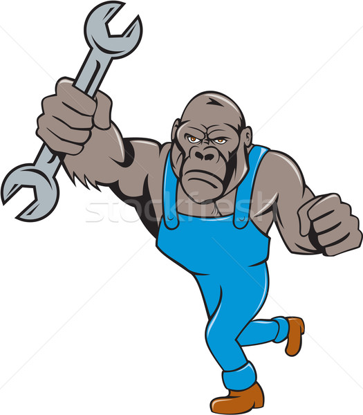 Angry Gorilla Mechanic Spanner Cartoon Isolated Stock photo © patrimonio