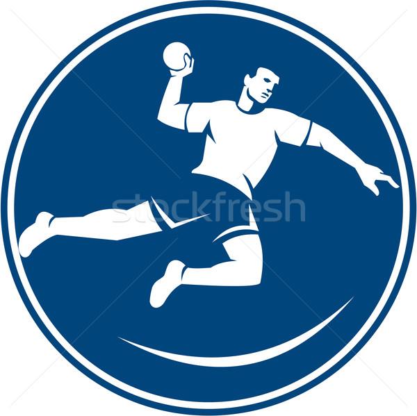 Handball Player Jumping Throwing Ball Icon Stock photo © patrimonio
