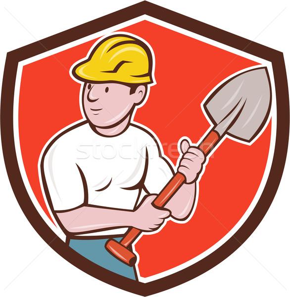 Builder vanga scudo cartoon illustrazione Foto d'archivio © patrimonio