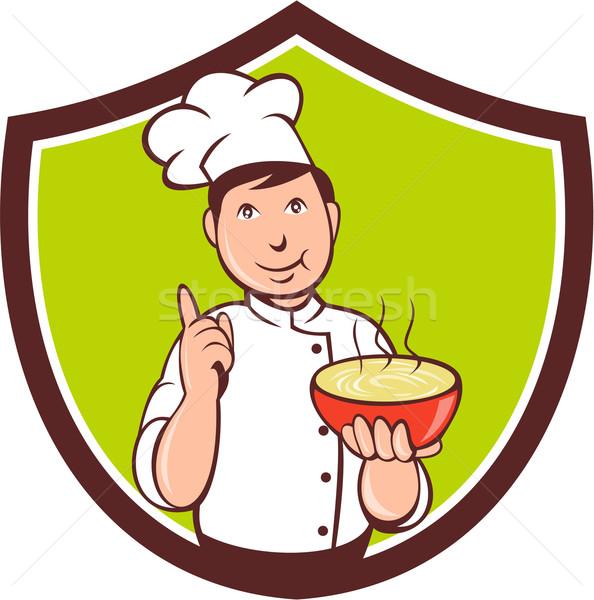 Chef kok kom wijzend kuif cartoon Stockfoto © patrimonio