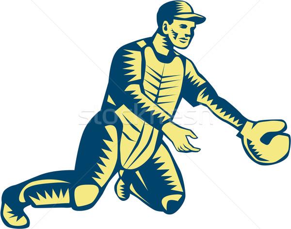 Baseball Catcher Catching Woodcut Stock photo © patrimonio