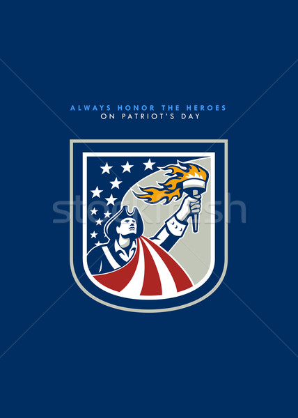 Patriots Day Greeting Card American Patriot Holding Up Torch Flag Stock photo © patrimonio