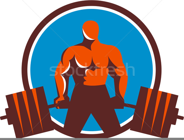 Gewichtheffer cirkel retro illustratie barbell Stockfoto © patrimonio