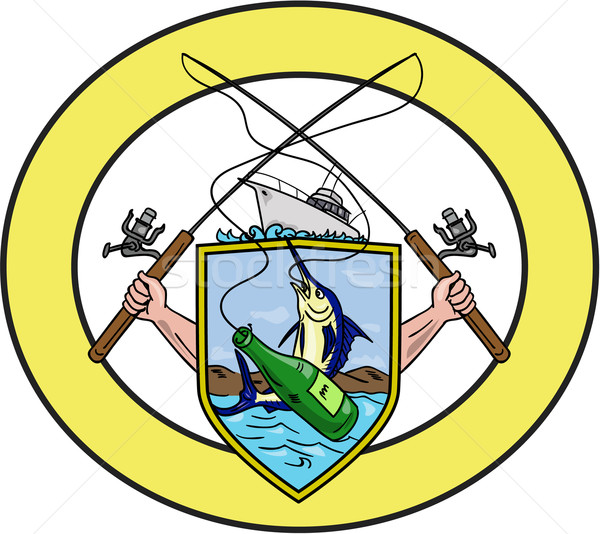Fishing Rod Reel Blue Marlin Beer Bottle Coat of Arms Oval Drawing Stock photo © patrimonio