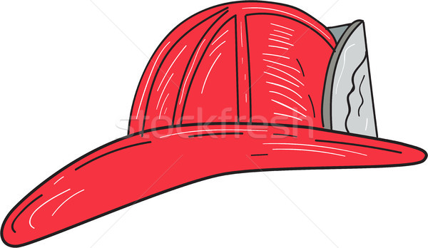Vintage Fireman Firefighter Helmet Drawing Stock photo © patrimonio