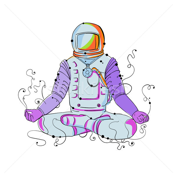 Cosmonaut Padmasana Position Doodle Stock photo © patrimonio