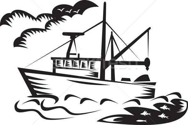 商業 漁船 船 海 実例 雲 ストックフォト © patrimonio