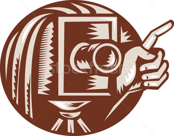 Stock photo: Vintage Camera Hand Pointing Retro Woodcut