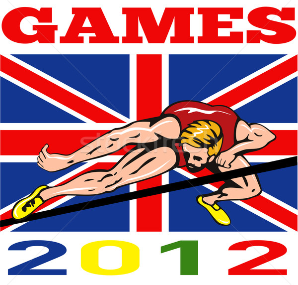 Games 2012 High Jump Track and Field British Flag Stock photo © patrimonio