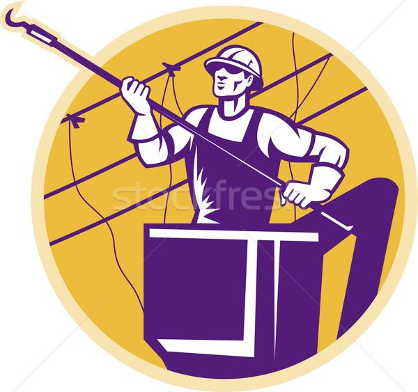 Pouvoir crochet illustration ligne travailleur cerise Photo stock © patrimonio