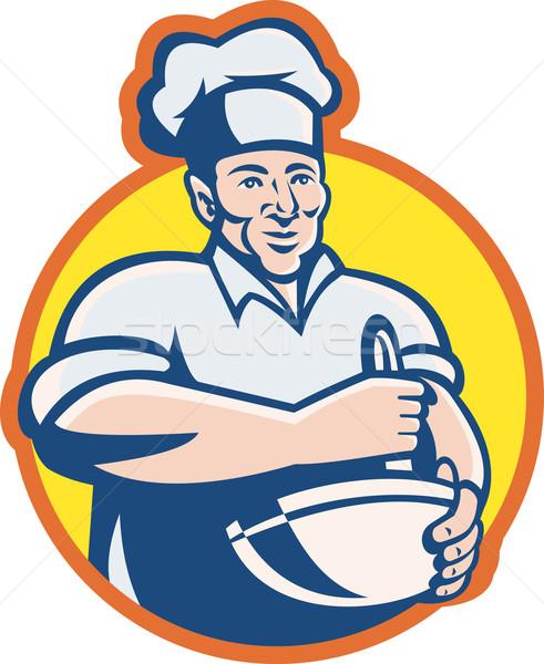 Cook Chef Baker With Mixing Bowl Retro Stock photo © patrimonio