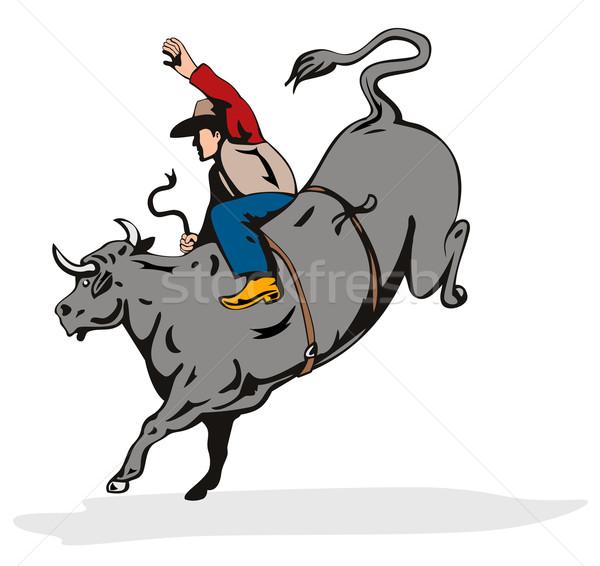 ロデオ カウボーイ 牛 ライディング レトロな 実例 ストックフォト © patrimonio