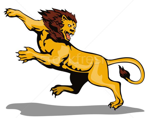 Lion Big Cat Attacking Retro Stock photo © patrimonio