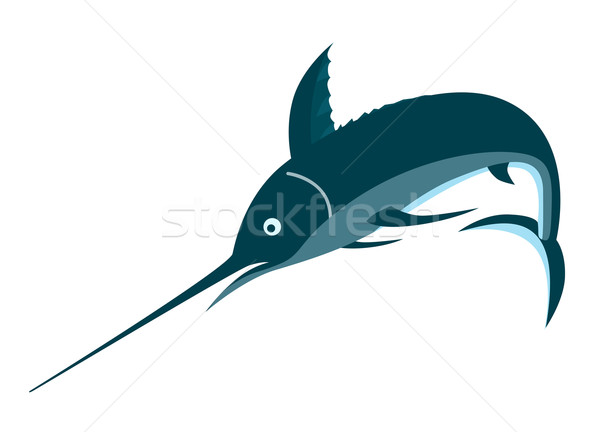 Blauw vis springen retro illustratie retro-stijl Stockfoto © patrimonio