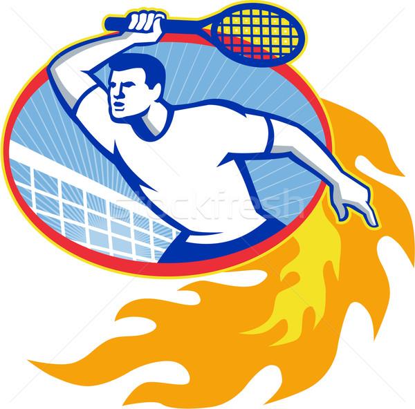 Tennis Player Racquet Retro Stock photo © patrimonio