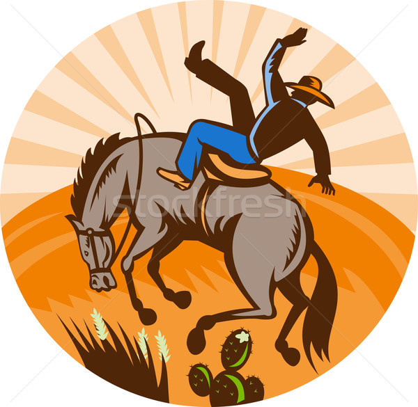 cowboy falling off horse in the desert  Stock photo © patrimonio