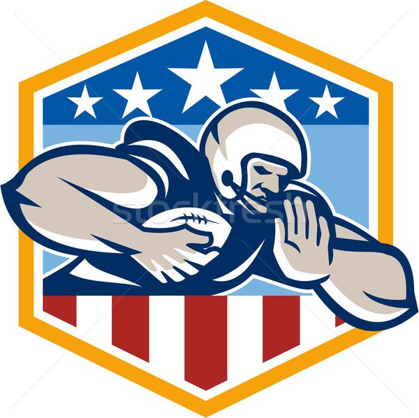 Amerikai futball fut hát címer illusztráció Stock fotó © patrimonio