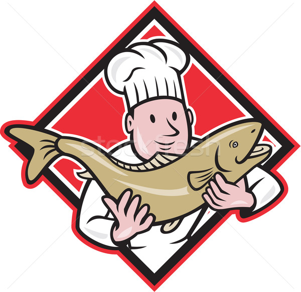 Chef Cook Handling Salmon Trout Fish Cartoon Stock photo © patrimonio
