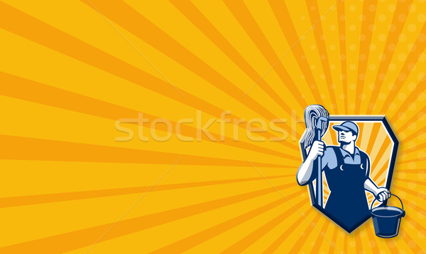 Janitor Cleaner Holding Mop Bucket Retro Stock photo © patrimonio